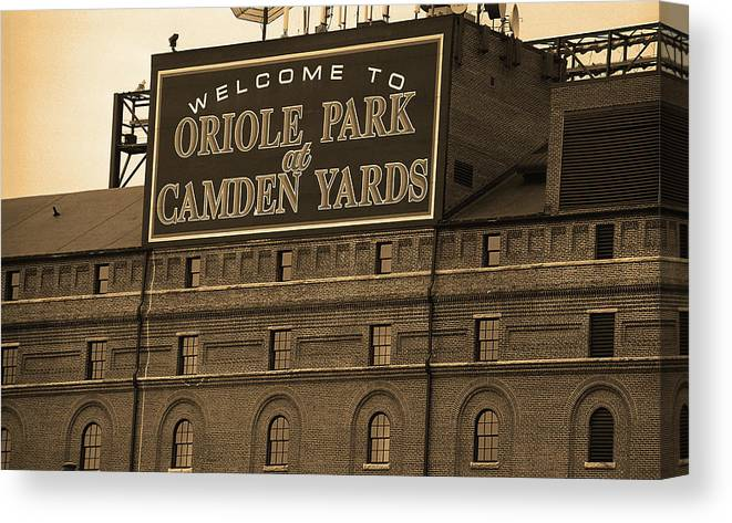 America Canvas Print featuring the photograph Baltimore Orioles Park At Camden Yards Sepia by Frank Romeo