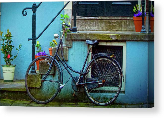 Contest Winner Canvas Print featuring the photograph Blue Bike by Jill Smith