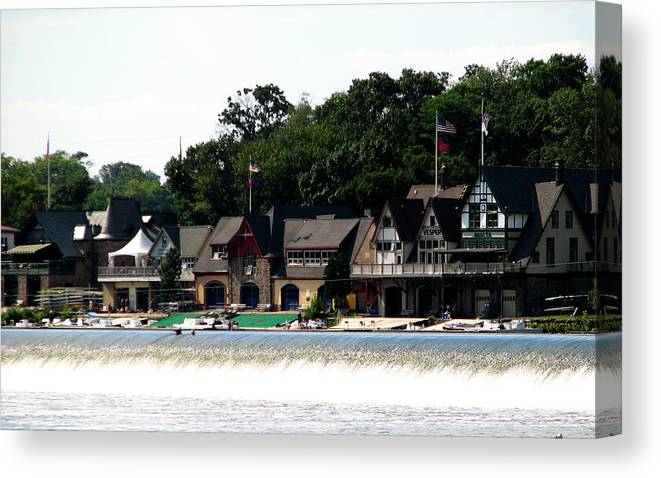 Boathouse Row Canvas Print featuring the photograph Boathouse Row Philadelphia by Christopher Woods