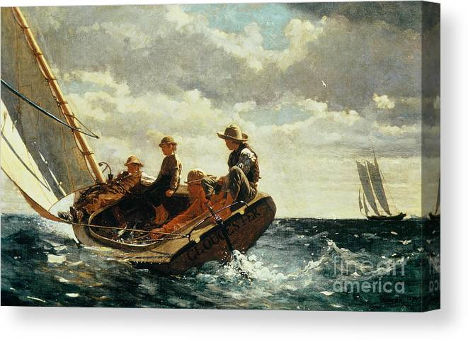 Breezing Up (a Fair Wind) 1873-76 (oil On Canvas) By Winslow Homer (1836-1910)boat Canvas Print featuring the painting Breezing Up by Winslow Homer