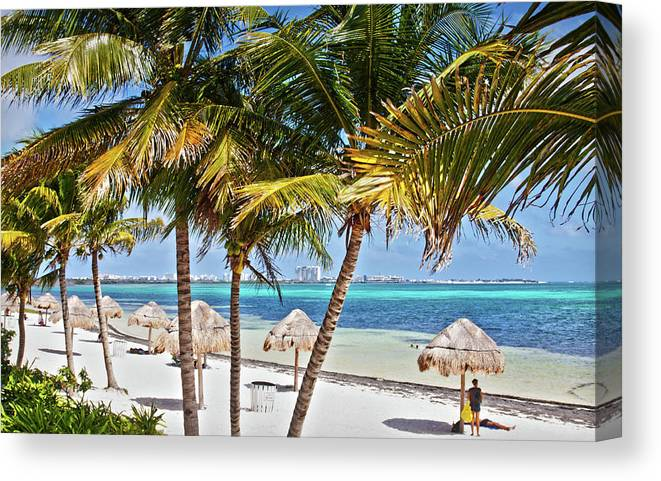 Cancun Canvas Print featuring the photograph Cancun Beach by Tatiana Travelways