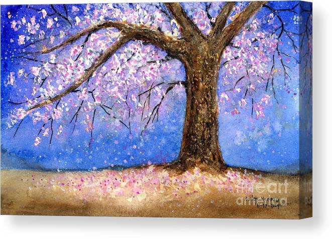 Cherry Blossom Canvas Print featuring the painting Cherry Blossom by Hailey E Herrera