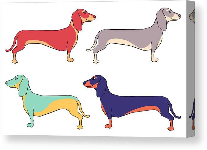 Dachshunds Canvas Print featuring the digital art Dachshunds by Kelly King