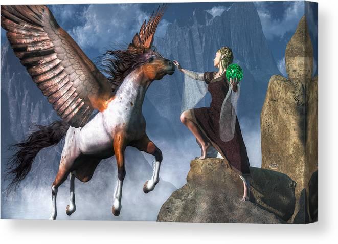 Elf Summoning A Pegasus Canvas Print featuring the digital art Elf Summoning A Pegasus by Daniel Eskridge