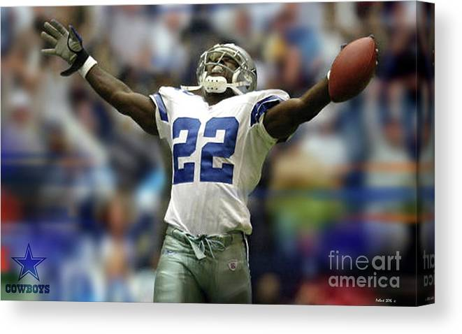 Emmitt Smith Canvas Print featuring the mixed media Emmitt Smith d3b054023f90