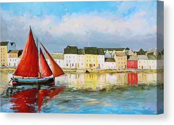 Galway Hooker Canvas Print featuring the painting Galway Hooker Leaving Port by Conor McGuire