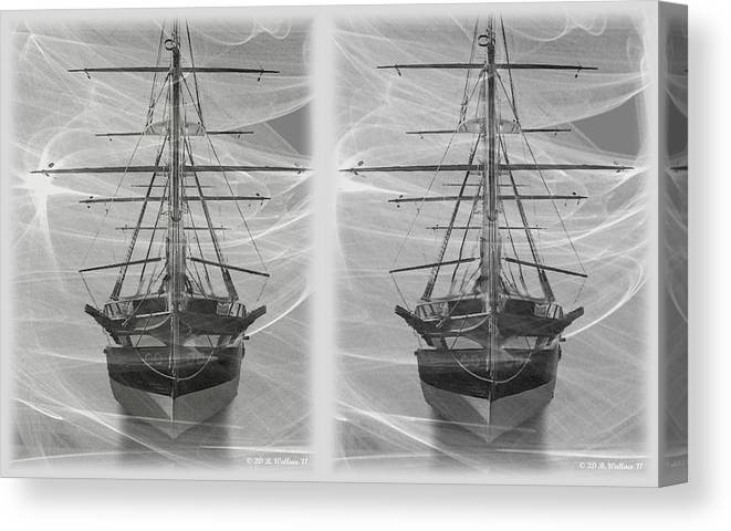 3d Canvas Print featuring the photograph Ghost Ship - Gently Cross Your Eyes And Focus On The Middle Image by Brian Wallace