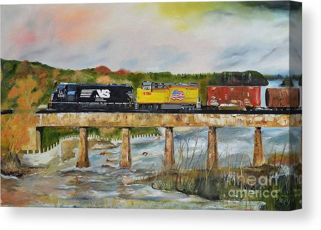 Norfolk Southern Canvas Print featuring the painting Hooch - Chattahoochee River - Columbus Ga by Jan Dappen