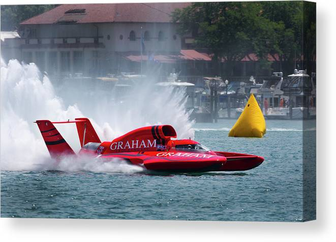 Annual Event Canvas Print featuring the photograph hydroplane racing boat on the Detroit river by Bruce Beck