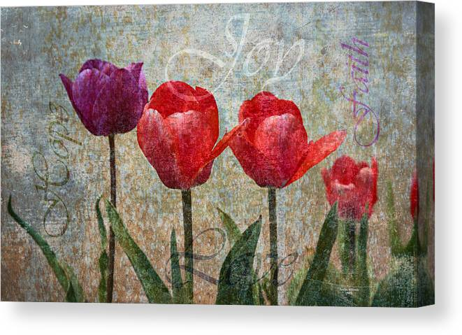 Flowers Canvas Print featuring the digital art Joy Withtulips by Joselyn Holcombe
