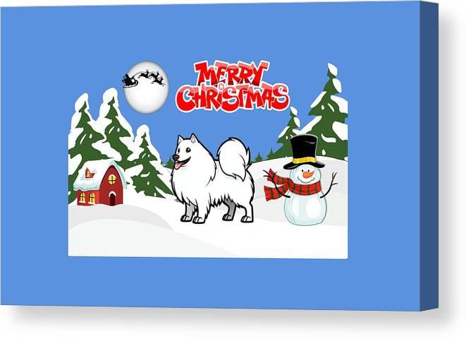 Merry Christmas Canvas Print featuring the digital art Merry Christmas American Eskimo Dog by Justin Clanton