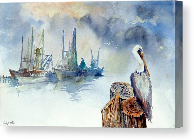 Pelican Canvas Print featuring the painting Mississippi Pelican by Bobby Walters