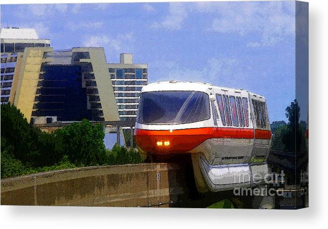 Art Canvas Print featuring the painting Monorail by David Lee Thompson