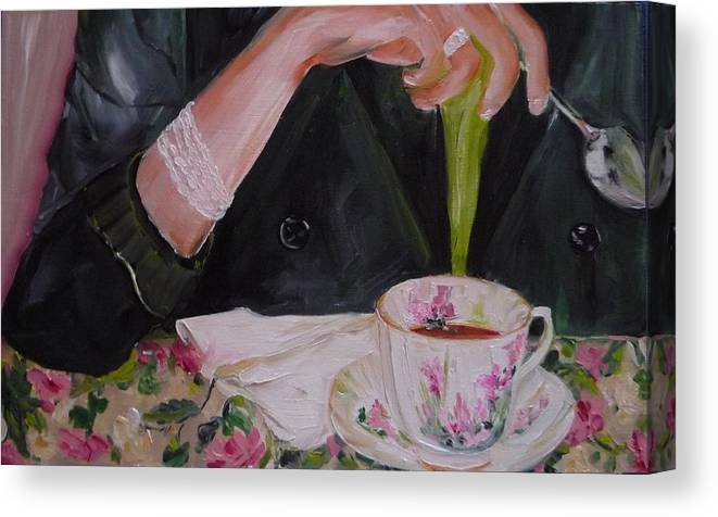 Food Canvas Print featuring the painting My Cup Of Tea by Irit Bourla