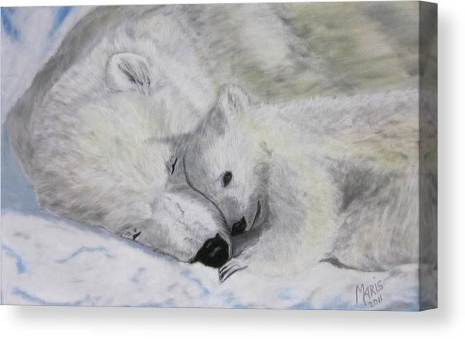 Polar Bears Canvas Print featuring the painting Polar Bears by Maris Sherwood