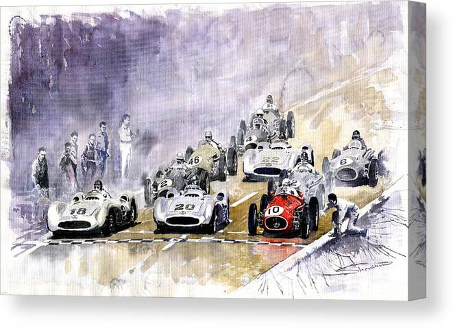 Watercolour Canvas Print featuring the painting 1954 Red Car Maserati 250 France Gp by Yuriy Shevchuk