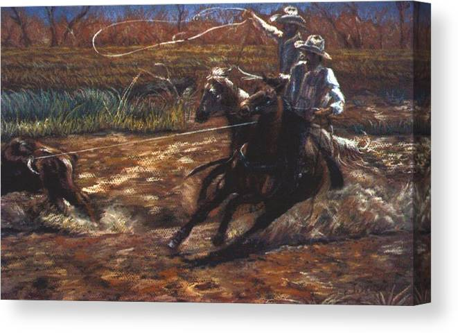 Roping Canvas Print featuring the pastel Round Up by Tommy Winn