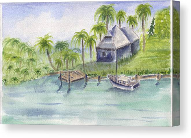 Palm Trees Canvas Print featuring the painting Sanibel Castaways View Over Bay by Ruth Bevan