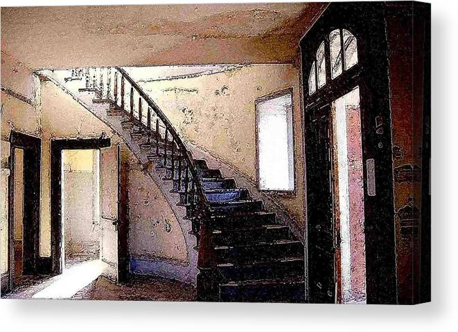 Meade Hotel Canvas Print featuring the photograph Stairway - Meade Hotel - Bannack Mt by Nelson Strong