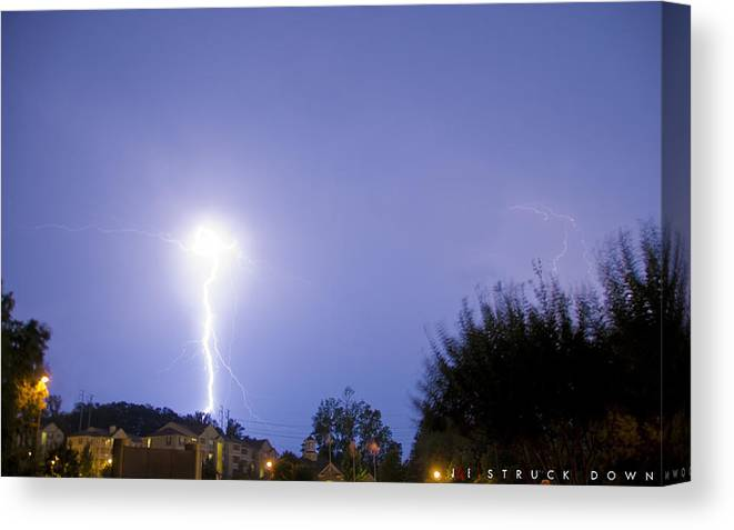 Lightening Canvas Print featuring the photograph Struck Down by Jonathan Ellis Keys