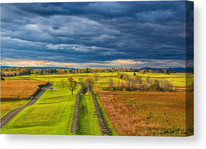 Sky Canvas Print featuring the photograph The Antietam Battlefield by John M Bailey