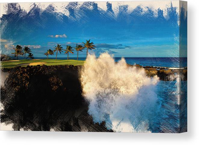 Decoration Canvas Print featuring the digital art The Jack Nicklaus Signature Hualalai Golf Course by Don Kuing