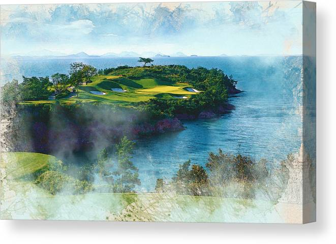 Decoration Canvas Print featuring the digital art The Pine And Beach Links by Don Kuing
