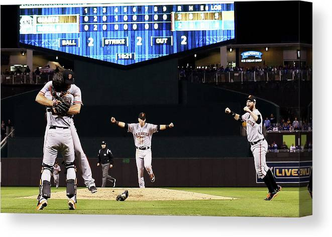 People Canvas Print featuring the photograph World Series - San Francisco Giants V by Jamie Squire