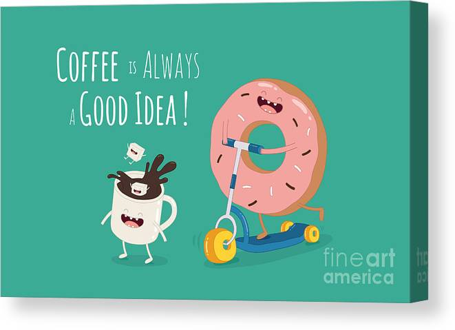 Away Canvas Print featuring the digital art Funny Coffee With Donut On The Kick by Serbinka