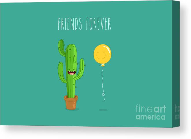 Gift Canvas Print featuring the digital art Funny Cactus With Air Balloon. Vector by Serbinka