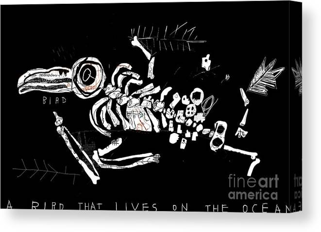 Beak Canvas Print featuring the digital art The Skeleton Of A Bird Which Ate by Dmitriip