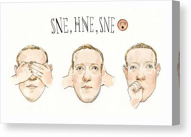 Captionless Canvas Print featuring the painting Zuckerberg Monkeys Around by Barry Blitt