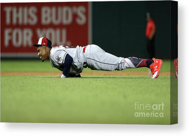 People Canvas Print featuring the photograph Francisco Lindor by Patrick Smith