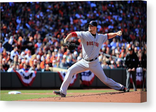 American League Baseball Canvas Print featuring the photograph Jon Lester by Rob Carr