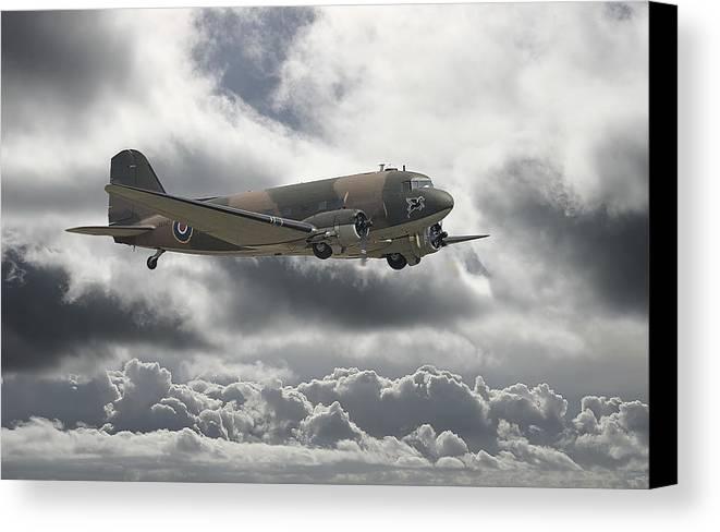 Aircraft Canvas Print featuring the digital art  Dc3 Dakota  Workhorse by Pat Speirs