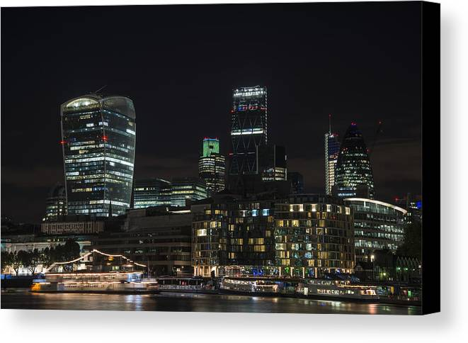Landscape Canvas Print featuring the photograph Beautiful Night City Skyline Landscape Image Of City Of London by Matthew Gibson