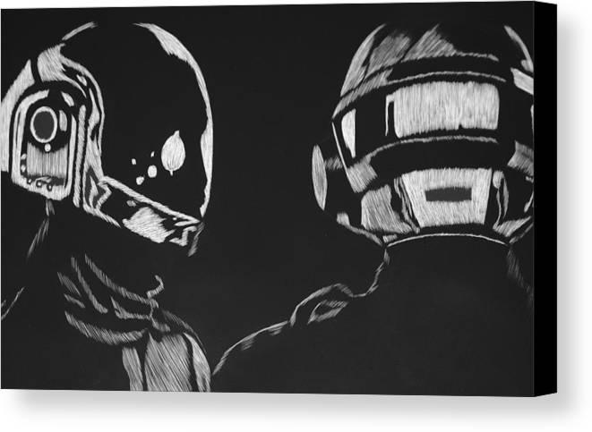 Daft Canvas Print featuring the drawing Daft Punk by Trevor Garner
