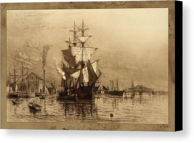 Schooner Canvas Print featuring the photograph Historic Seaport Schooner by John Stephens