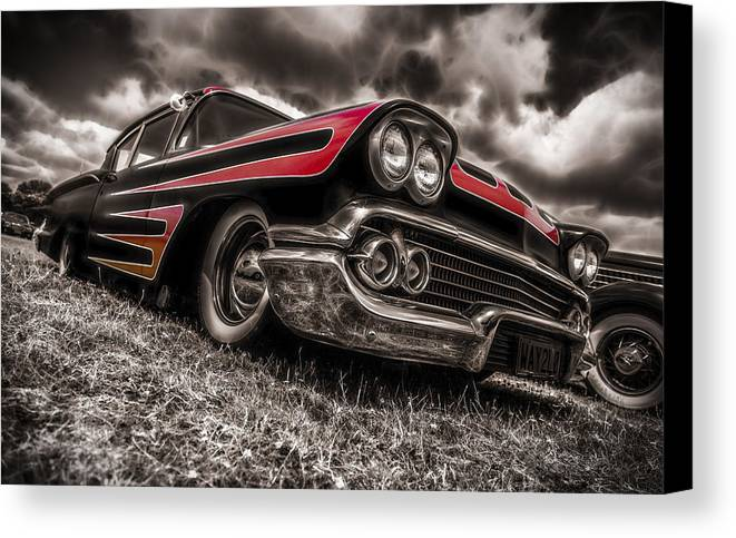Chevrolet Biscayne Canvas Print featuring the photograph 1958 Chev Biscayne by motography aka Phil Clark