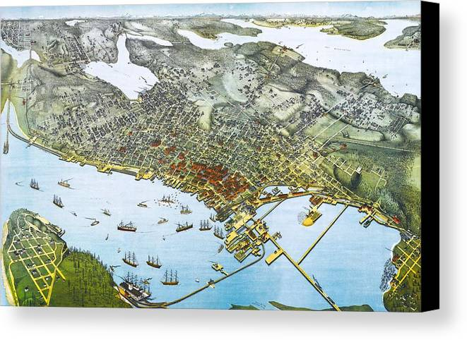 Antique 1891 Seattle Map Canvas Print featuring the digital art Antique 1891 Seattle Map by Dan Sproul