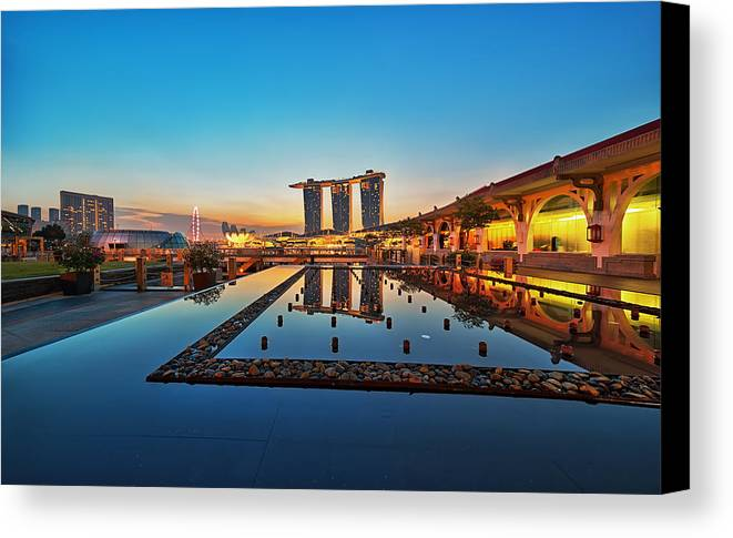 Reflection Canvas Print featuring the photograph Blue by Partha Roy