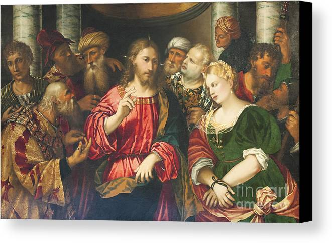Corsini Canvas Print featuring the photograph Christ And The Adulteress By Rocco Marconi by Roberto Morgenthaler