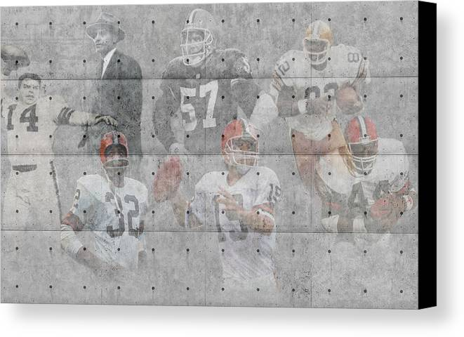 Browns Canvas Print featuring the photograph Cleveland Browns Legends by Joe Hamilton
