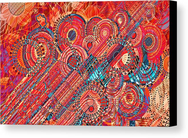 Abstract Art Canvas Print featuring the digital art Deco Flower Swirls by Mary Clanahan