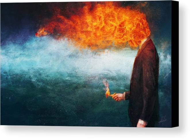 Fire Canvas Print featuring the painting Deep by Mario Sanchez Nevado