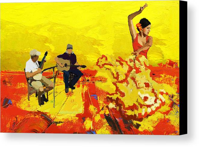 Jazz Canvas Print featuring the painting Flamenco Dancer 018 by Catf