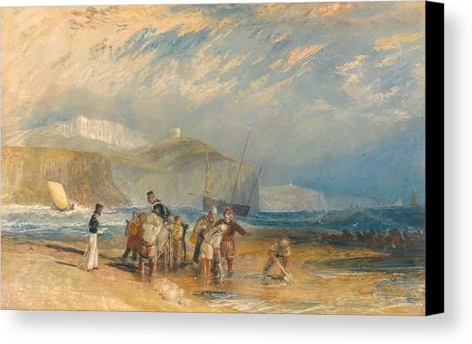 1829 Canvas Print featuring the painting Folkestone Harbour And Coast To Dover by JMW Turner