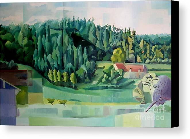 Forest Canvas Print featuring the painting Forest Of L Hermitiere Or The Orchestra by Christian Simonian
