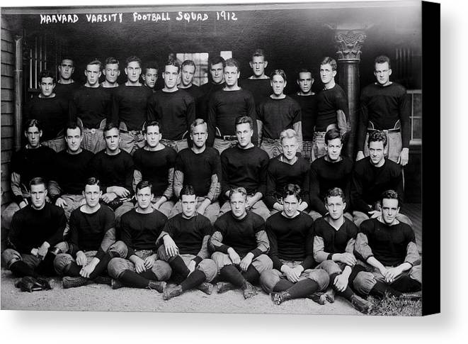 Football Canvas Print featuring the photograph Harvard Football 1912 by Benjamin Yeager