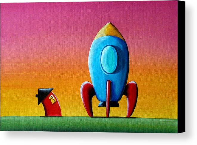 Home Canvas Print featuring the painting House Builds A Rocketship by Cindy Thornton